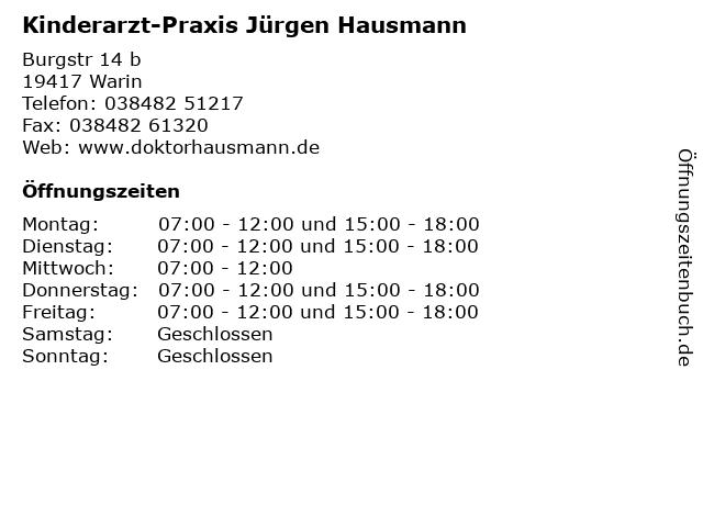 Kinderarzt-Praxis Jürgen Hausmann in Warin: Adresse und Öffnungszeiten