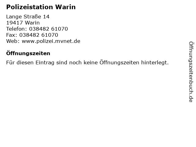 Polizeistation Warin in Warin: Adresse und Öffnungszeiten