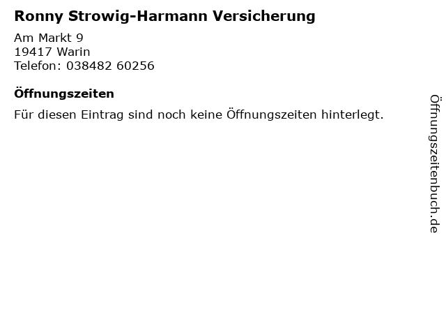 Ronny Strowig-Harmann Versicherung in Warin: Adresse und Öffnungszeiten