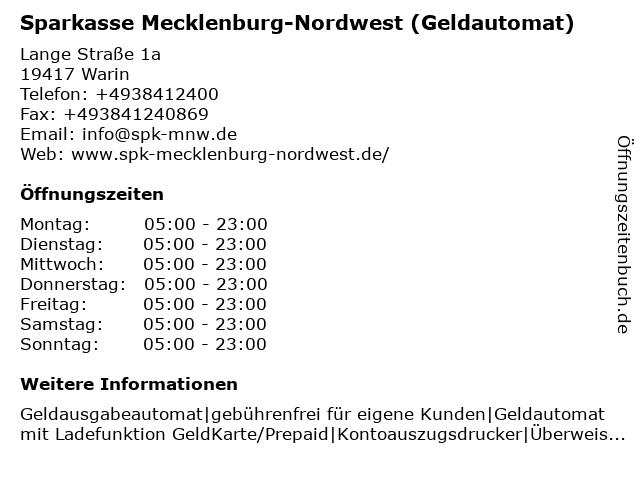 Sparkasse Mecklenburg-Nordwest - Geschäftsstelle Warin in Warin: Adresse und Öffnungszeiten