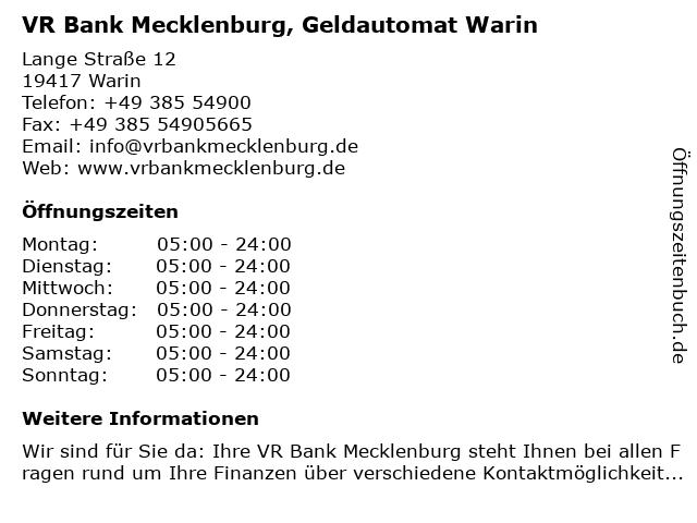 VR Bank Mecklenburg eG, SB-Geschäftsstelle Warin in Warin: Adresse und Öffnungszeiten