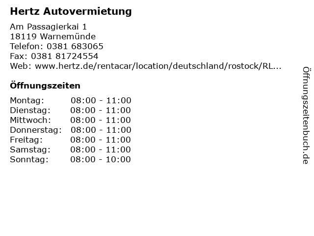 Hertz Autovermietung in Warnemünde: Adresse und Öffnungszeiten
