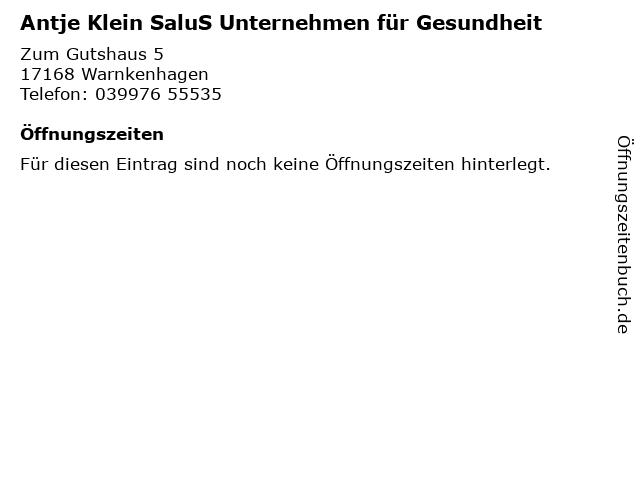Antje Klein SaluS Unternehmen für Gesundheit in Warnkenhagen: Adresse und Öffnungszeiten