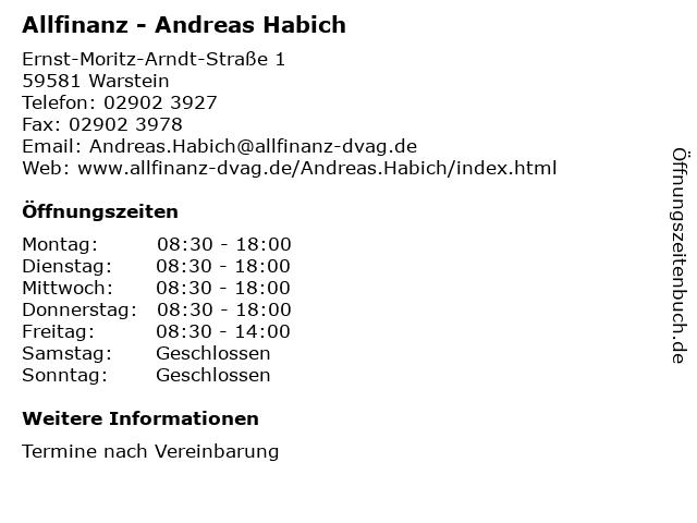 Allfinanz - Andreas Habich in Warstein: Adresse und Öffnungszeiten
