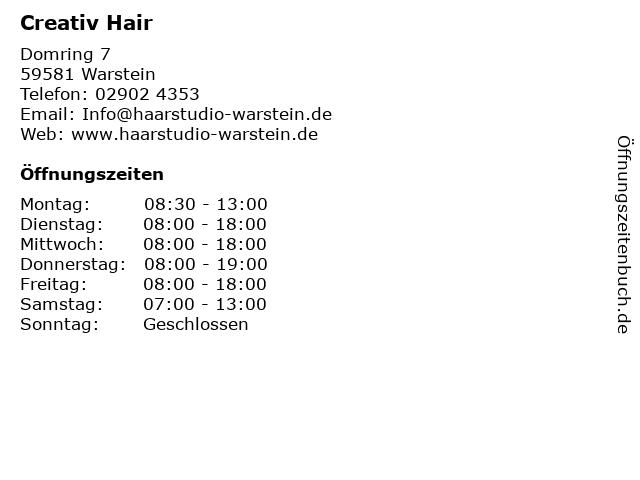 Creativ Hair in Warstein: Adresse und Öffnungszeiten