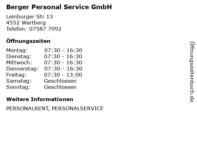 Berger Personal Service GmbH in Wartberg: Adresse und Öffnungszeiten