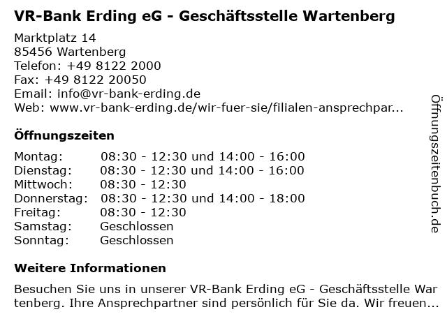 VR-Bank Erding eG - Geschäftsstelle Wartenberg in Wartenberg: Adresse und Öffnungszeiten