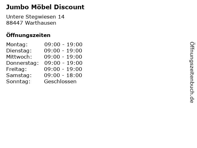 ᐅ öffnungszeiten Jumbo Möbel Discount Untere Stegwiesen 14 In