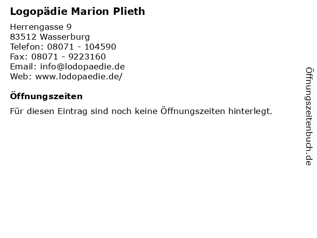 Logopädie Marion Plieth in Wasserburg: Adresse und Öffnungszeiten