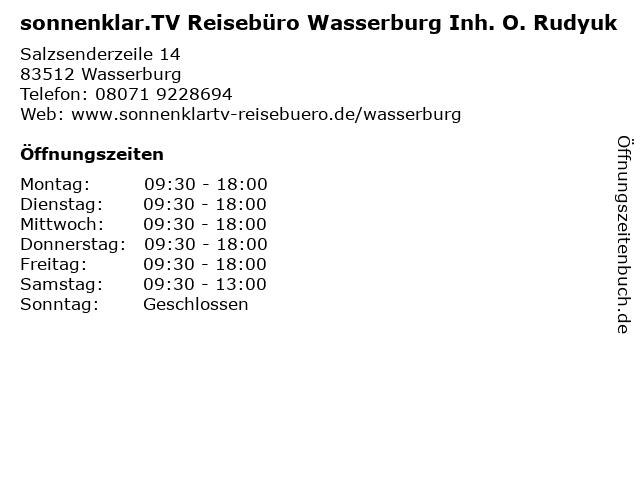 sonnenklar.TV Reisebüro Wasserburg Inh. O. Rudyuk in Wasserburg: Adresse und Öffnungszeiten