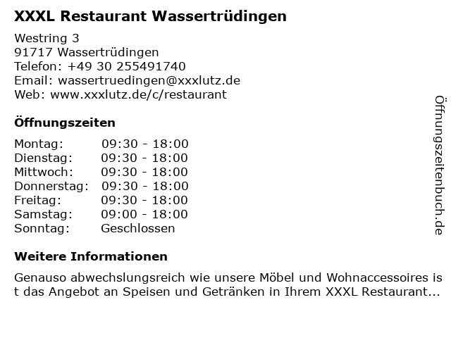 ᐅ öffnungszeiten Xxxl Restaurant Wassertrüdingen Westring 3 In