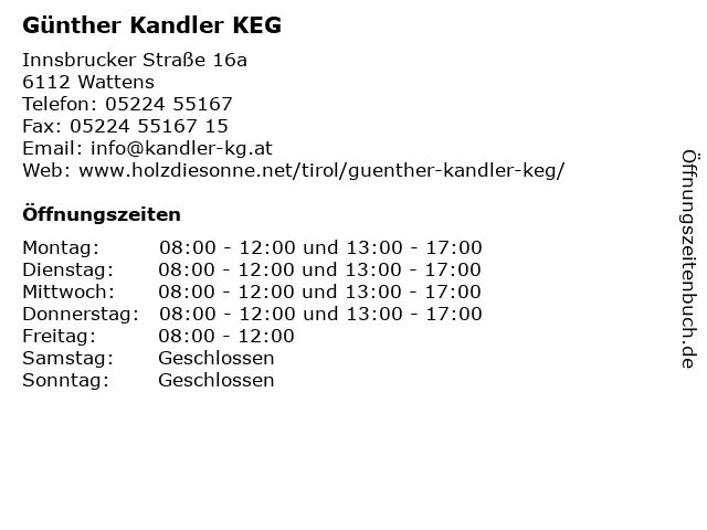 Günther Kandler KEG in Wattens: Adresse und Öffnungszeiten