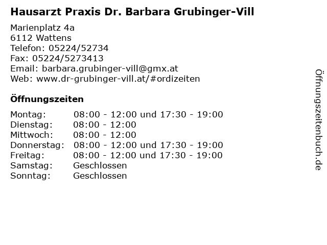 Hausarzt Praxis Dr. Barbara Grubinger-Vill in Wattens: Adresse und Öffnungszeiten