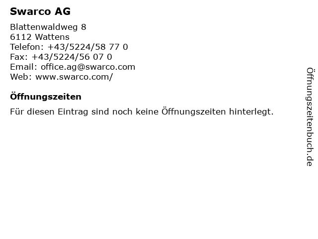Swarco AG in Wattens: Adresse und Öffnungszeiten
