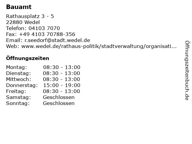 Bauamt in Wedel: Adresse und Öffnungszeiten