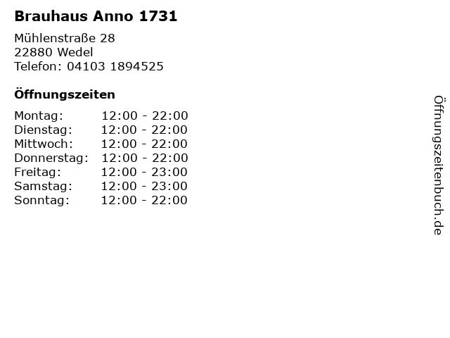 Brauhaus Anno 1731 in Wedel: Adresse und Öffnungszeiten