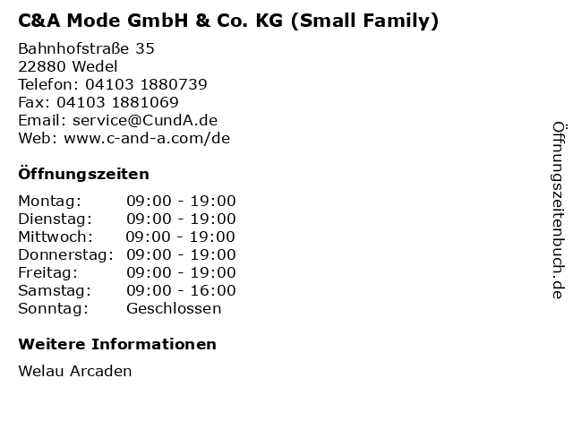 C&A Mode GmbH & Co. KG (Small Family) in Wedel: Adresse und Öffnungszeiten