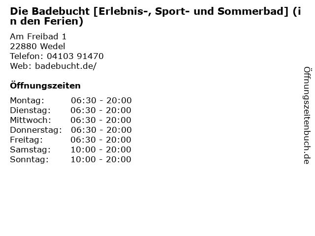 Die Badebucht [Erlebnis-, Sport- und Sommerbad] (in den Ferien) in Wedel: Adresse und Öffnungszeiten