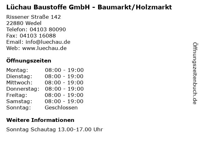Lüchau Baustoffe GmbH - Baumarkt/Holzmarkt in Wedel: Adresse und Öffnungszeiten