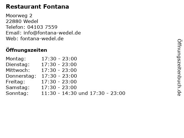 Restaurant Fontana in Wedel: Adresse und Öffnungszeiten