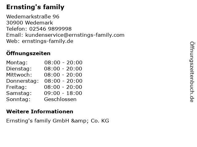 Ernsting's family GmbH & Co. KG in Wedemark: Adresse und Öffnungszeiten
