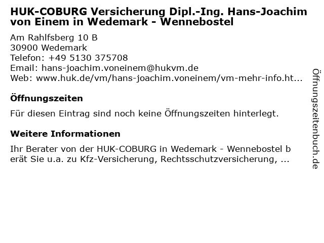 HUK-COBURG Versicherung Hans-Joachim Einem in Wedemark - Wennebostel in Wedemark: Adresse und Öffnungszeiten