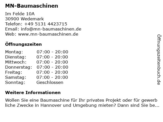 MN-Baumaschinen in Wedemark: Adresse und Öffnungszeiten