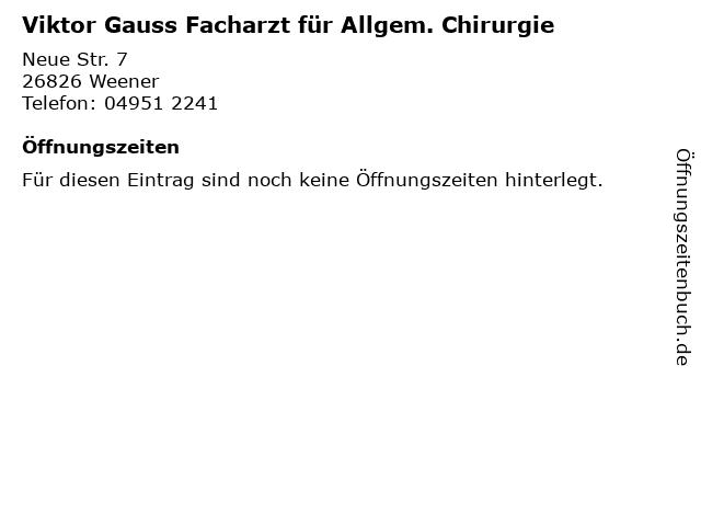 Viktor Gauss Facharzt für Allgem. Chirurgie in Weener: Adresse und Öffnungszeiten