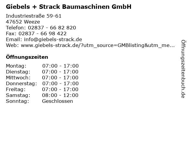 Giebels + Strack Baumaschinen GmbH in Weeze: Adresse und Öffnungszeiten