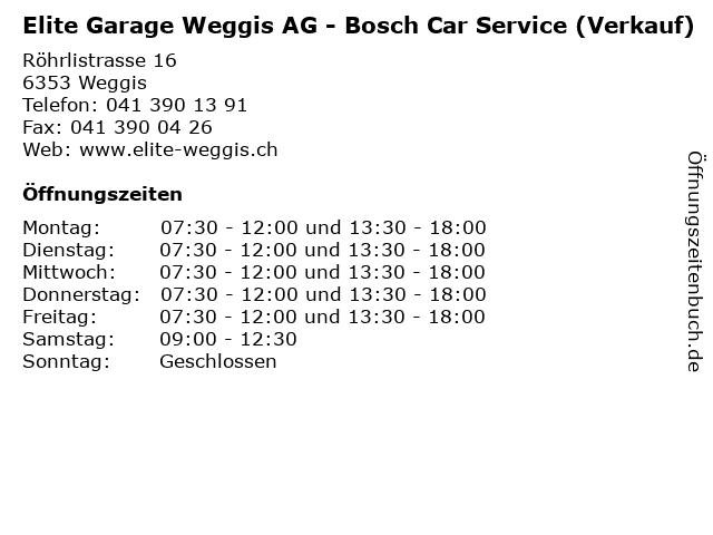Elite Garage Weggis AG - Bosch Car Service (Verkauf) in Weggis: Adresse und Öffnungszeiten