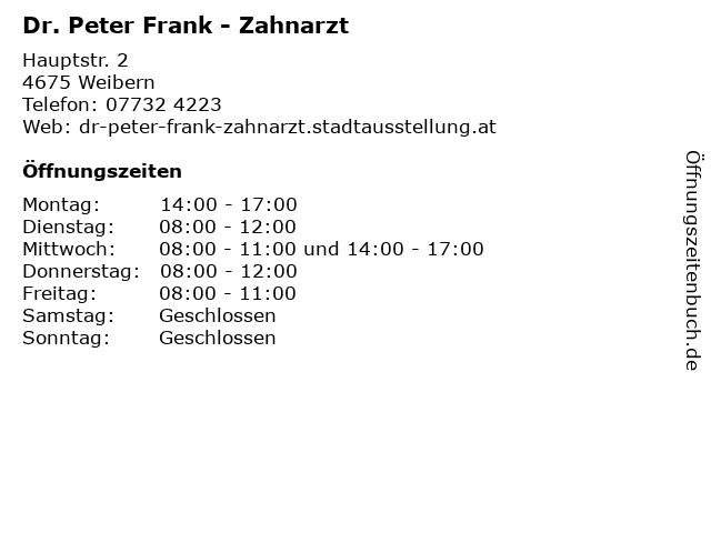 Dr. Peter Frank - Zahnarzt in Weibern: Adresse und Öffnungszeiten