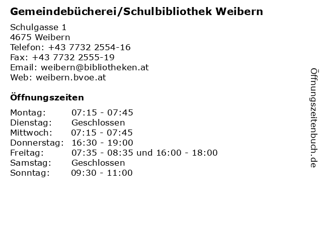 Gemeindebücherei Weibern in Weibern: Adresse und Öffnungszeiten