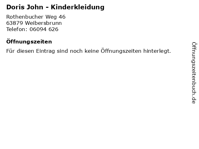 Doris John - Kinderkleidung in Weibersbrunn: Adresse und Öffnungszeiten