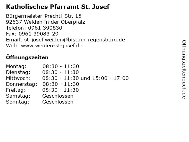 Katholisches Pfarramt St. Josef in Weiden: Adresse und Öffnungszeiten