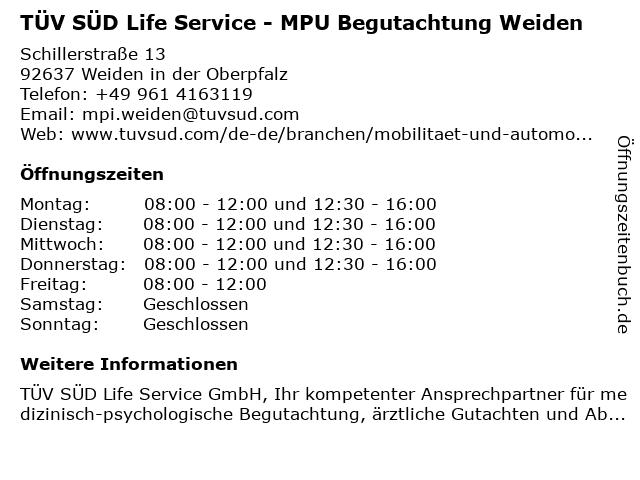 TÜV SÜD Life Service - MPU Begutachtung Weiden in Weiden in der Oberpfalz: Adresse und Öffnungszeiten