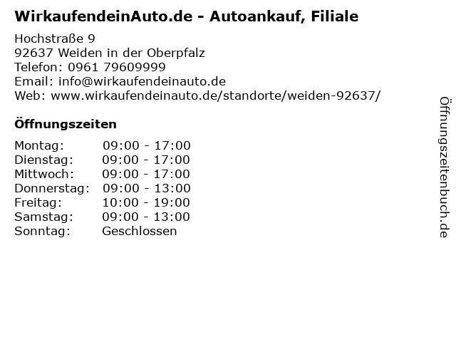 WirkaufendeinAuto.de - Autoankauf, Filiale in Weiden in der Oberpfalz: Adresse und Öffnungszeiten