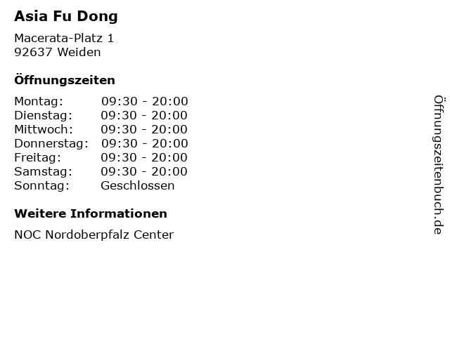 Asia Fu Dong in Weiden: Adresse und Öffnungszeiten