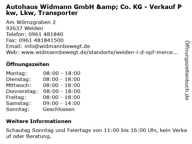 Autohaus Widmann GmbH & Co. KG - Verkauf Pkw, Lkw, Transporter in Weiden: Adresse und Öffnungszeiten