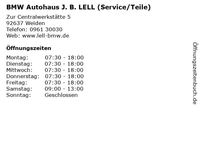 BMW Autohaus J. B. LELL (Service/Teile) in Weiden: Adresse und Öffnungszeiten