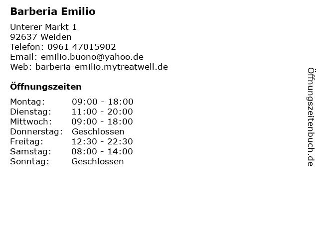 Barberia Emilio in Weiden: Adresse und Öffnungszeiten