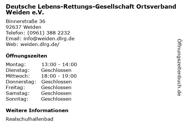 Deutsche Lebens-Rettungs-Gesellschaft Ortsverband Weiden e.V. in Weiden: Adresse und Öffnungszeiten