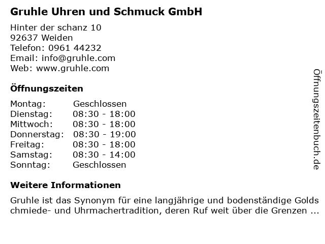 38cdc2d308 Gruhle Schmuck - Uhren GmbH Goldschmiede in Weiden: Adresse und  Öffnungszeiten