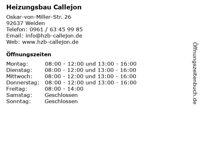 Heizungsbau Callejon in Weiden: Adresse und Öffnungszeiten