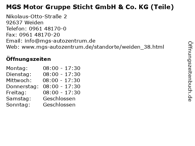 MGS Motor Gruppe Sticht GmbH & Co. KG (Teile) in Weiden: Adresse und Öffnungszeiten