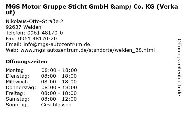 MGS Motor Gruppe Sticht GmbH & Co. KG (Verkauf) in Weiden: Adresse und Öffnungszeiten