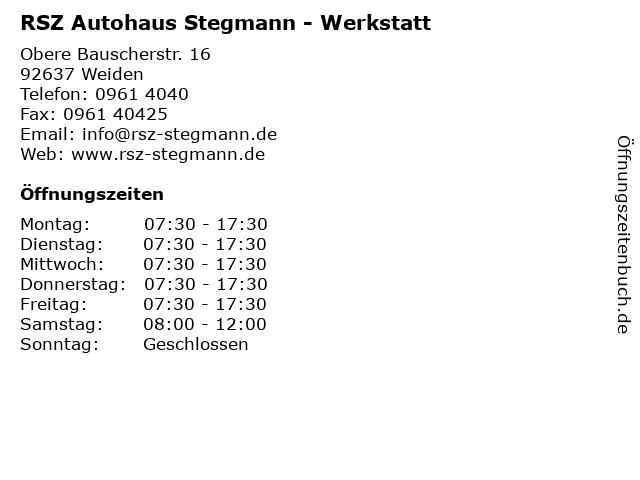 RSZ Autohaus Stegmann - Werkstatt in Weiden: Adresse und Öffnungszeiten