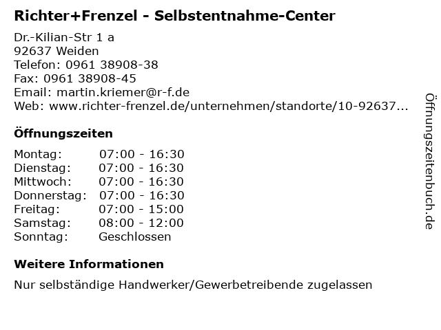 Richter+Frenzel - Selbstentnahme-Center in Weiden: Adresse und Öffnungszeiten