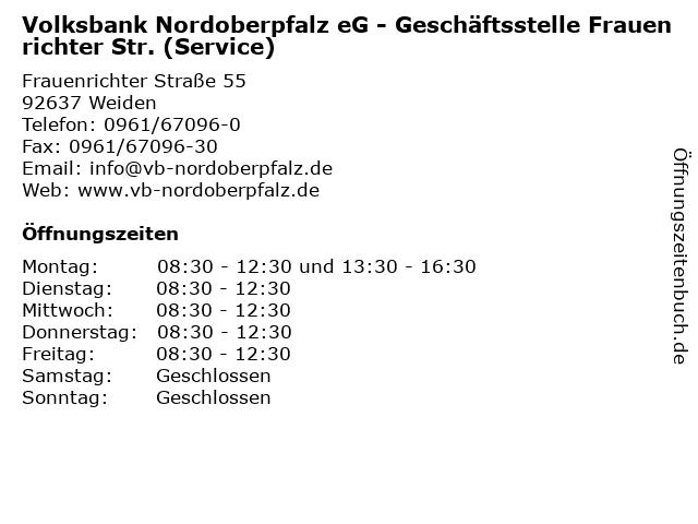 Volksbank Nordoberpfalz eG - Geschäftsstelle Frauenrichter Str. (Service) in Weiden: Adresse und Öffnungszeiten
