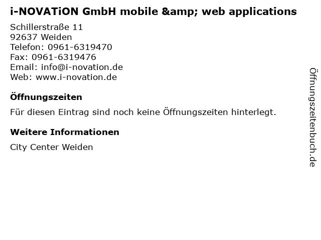 i-NOVATiON GmbH mobile & web applications in Weiden: Adresse und Öffnungszeiten