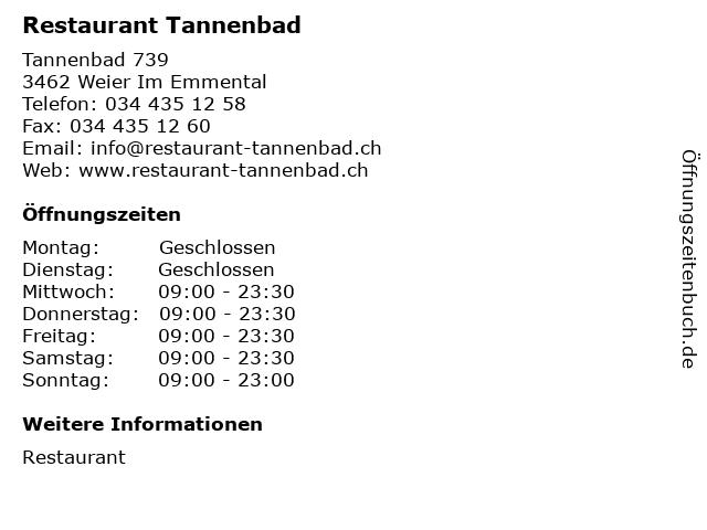 Restaurant Tannenbad in Weier Im Emmental: Adresse und Öffnungszeiten